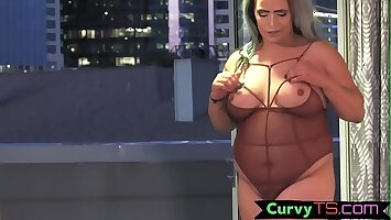 Mature chubby trans pleasures herself